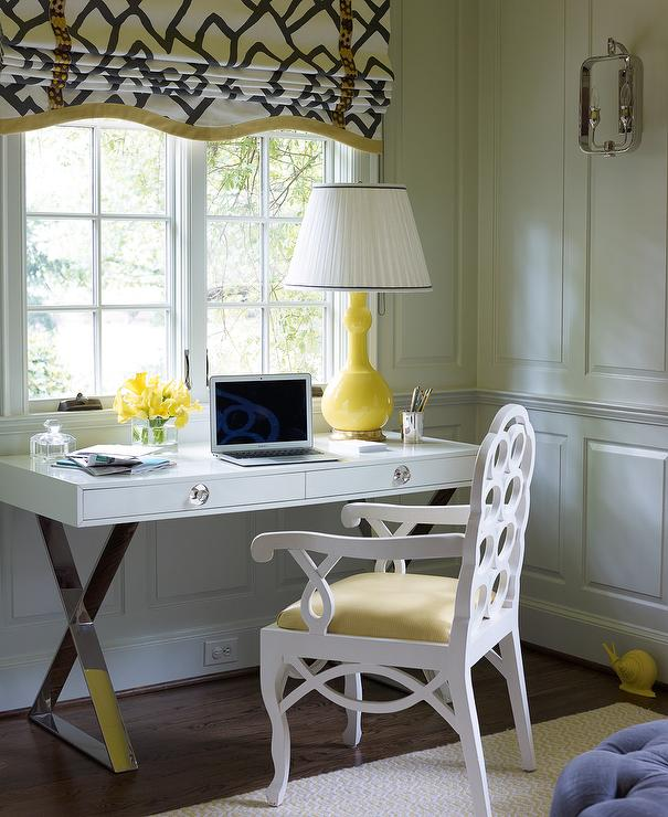 White And Yellow Office With Gray Walls Transitional Den Library