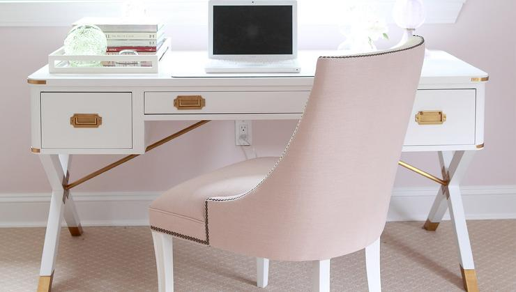 Charmant White Campaign Desk With Blush Pink Chair