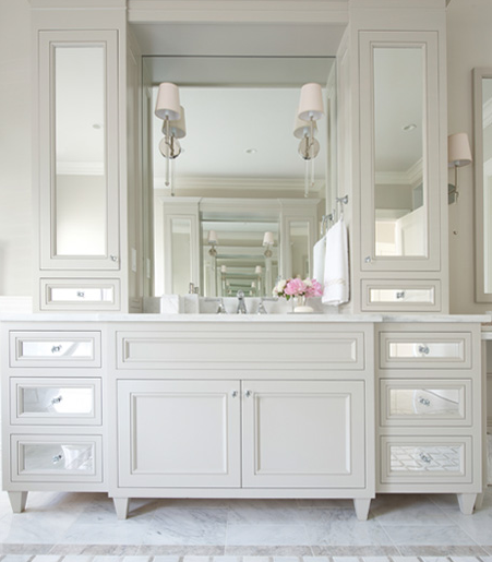 Beau White Washstand With Mirrored Cabinets And Drawers
