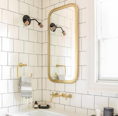 Bathroom Mirror Hardware brass bathroom mirror - look 4 less and steals and deals.