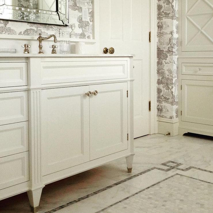 White And Gray French Bathroom With Greek Border Key Tiles