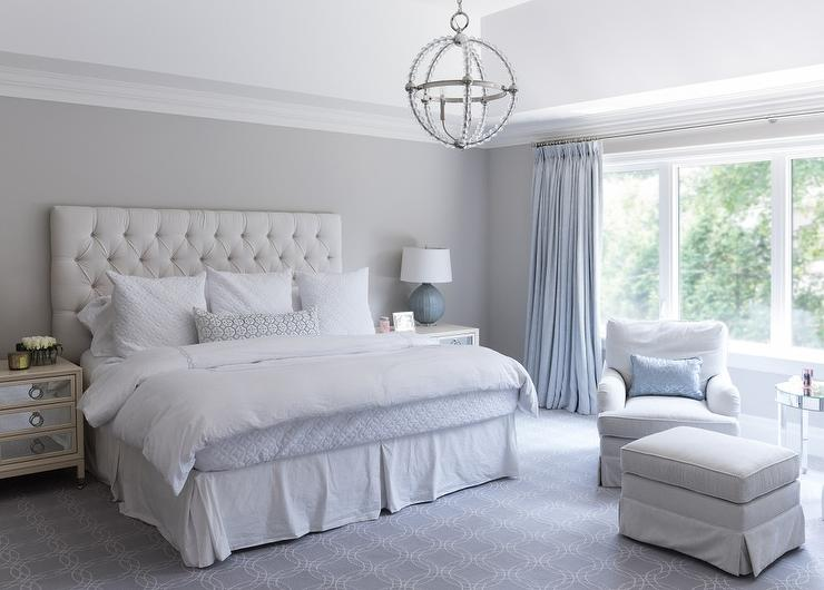 Gray And Blue Master Bedroom With Blue French Pleat Curtains - French blue bedroom design