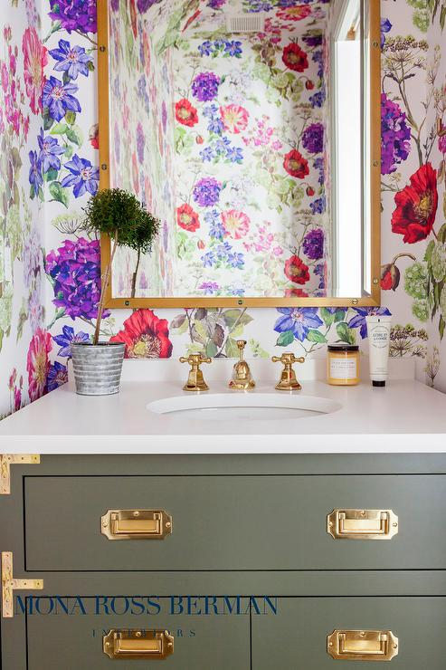 Brown And Blue Kids Bathroom With Brown Campaign Washstand