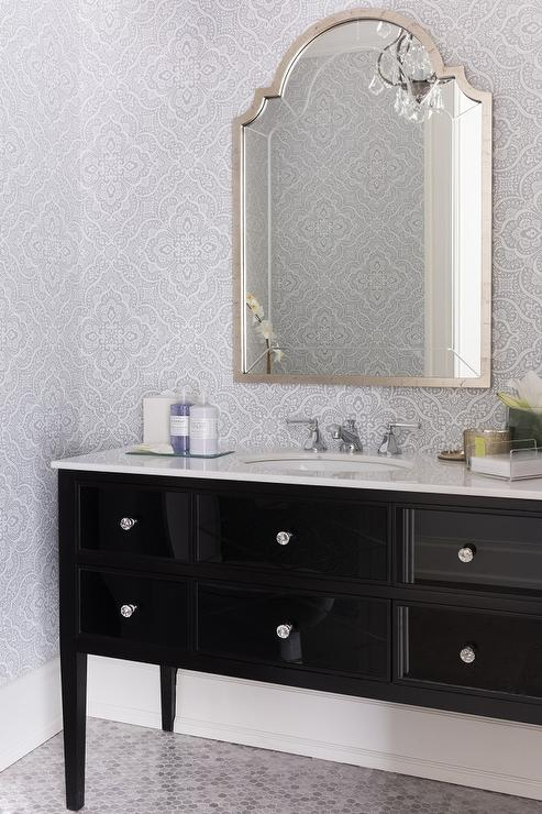 Gray Powder Room Wallpaper With Glossy Black Washstand
