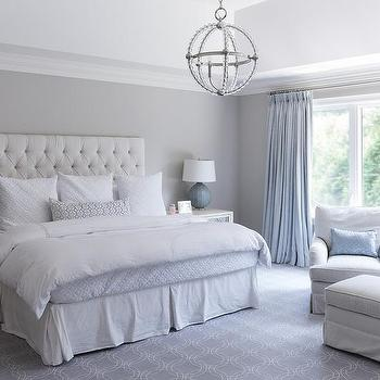 Light gray bedroom with ivory curtains transitional bedroom Master bedroom light blue walls