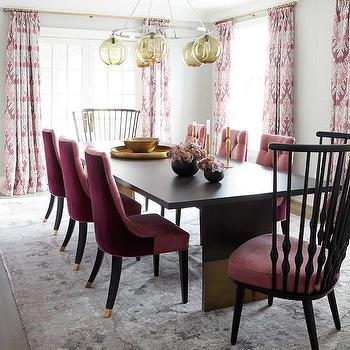 Pink Dining Room With Pink And Gray Rug