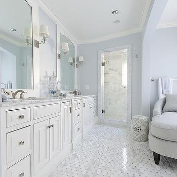 Gray and white master bathroom with side medicine cabinets for Master bathroom white
