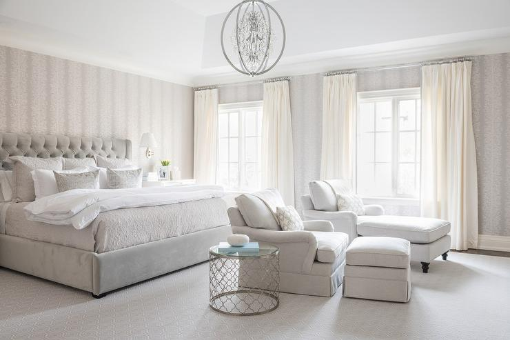 Light Gray Bedroom with Ivory Curtains - Transitional - Bedroom