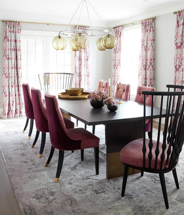 Genial Pink Dining Room With Pink And Gray Rug