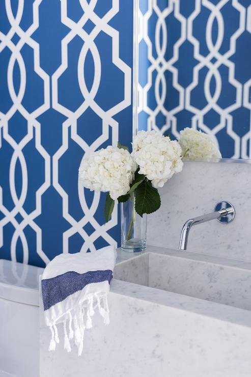 Carrera Marble Powder Room Sink Vanity With Blue Trellis