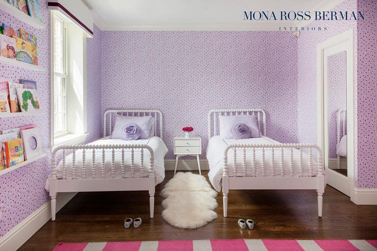 Purple Girl Bedroom With Floating Book Ledges