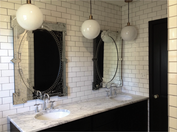 White And Black Bathroom With Venetian Mirrors