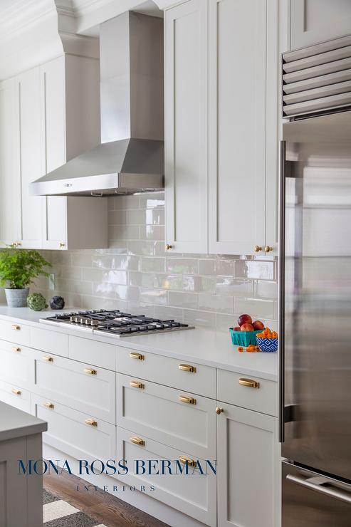 White Kitchen With Glossy Gray Backsplash Tiles Transitional Kitchen - Glossy grey kitchen