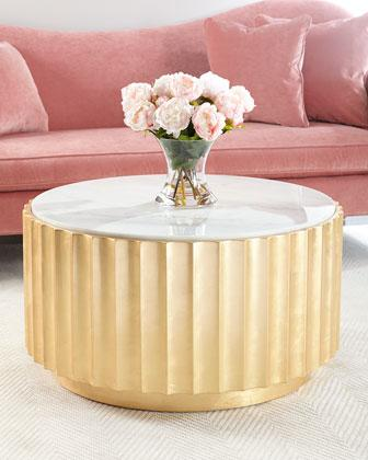 Cosmo Marble Top And Gold Base Round Coffee Table
