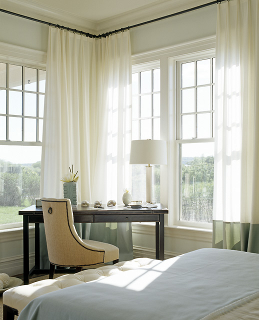 Corner Bedroom Desk Under Windows with Green Banded Curtains ...