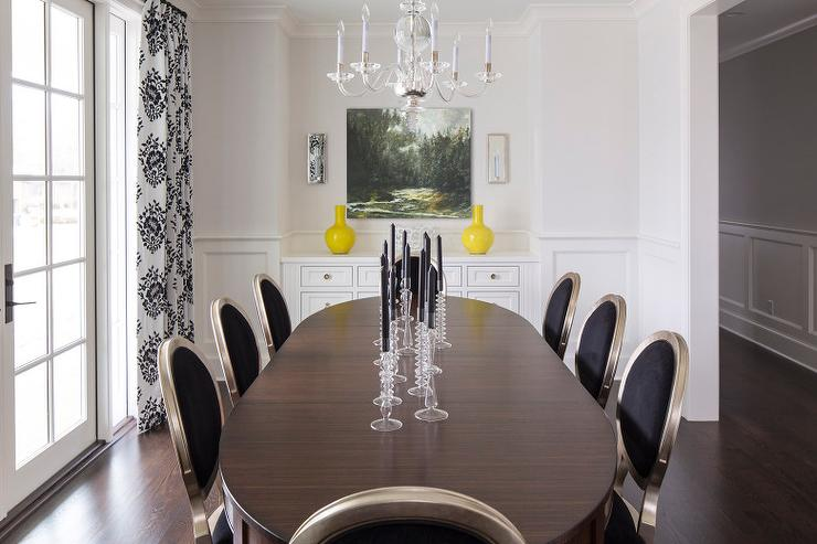 Black Round Back Dining Chairs With And White Damask Curtains