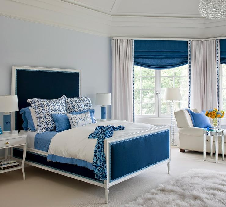 blue bedroom with monogrammed lamps view full size - Blue Bedroom Ideas