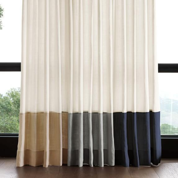 Bottom Border Blue Beige And Grey Rod Pocket Drape