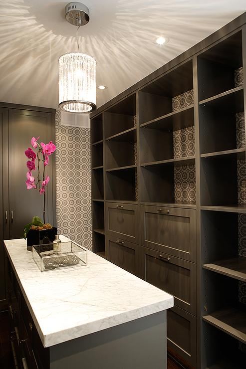 White And Grey Closet With Island Contemporary Closet