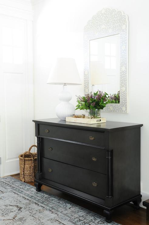 Foyer Chest With Mirror : Weathered noir watson dresser with aerin culloden table