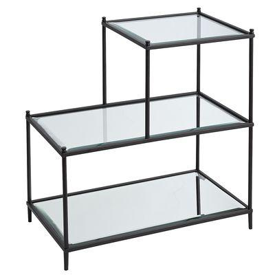 Excellent Black Frame Glass Shelves Three Tier Table XM24
