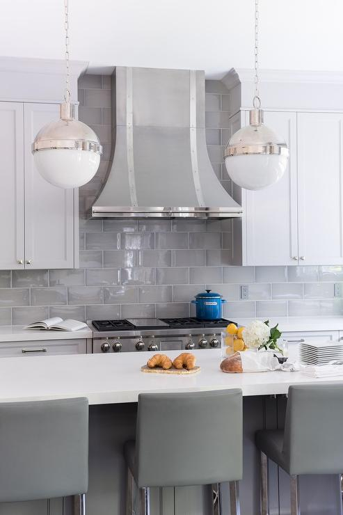 White And Gray Kitchen With Gray Leather Counter Stools