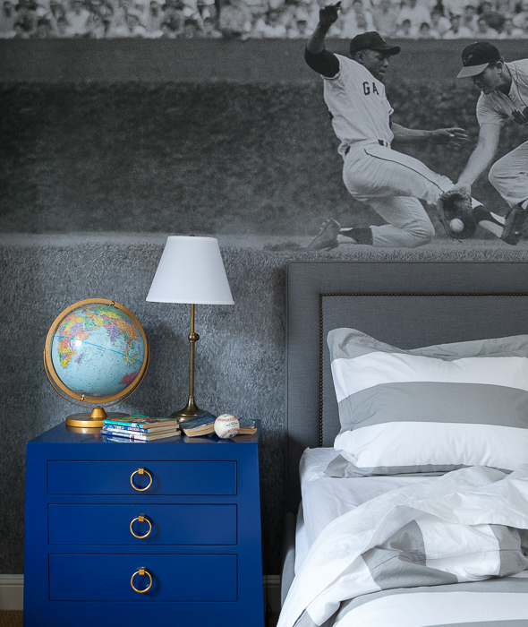 Kids Bedroom Nightstands gray kid bedroom with blue nightstands - transitional - boy's room