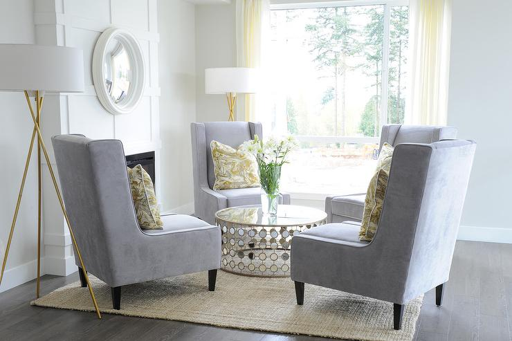 Yellow and Gray Living Room with Chairs in Circulation Formation ...