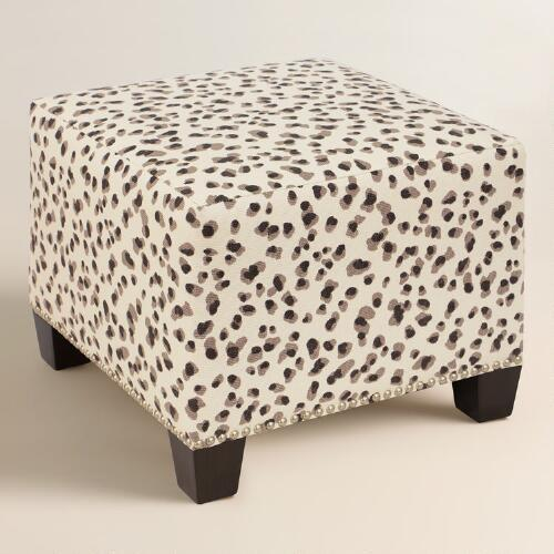 grey and beige snow leopard upholstered ottoman 88095