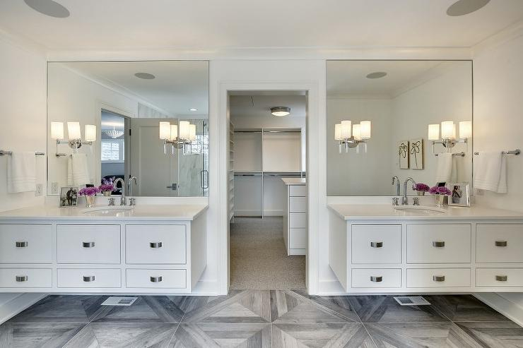 His And Hers Floating Washstands Flanking Closet Door