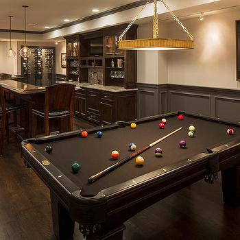Basement Bar With Black Pool Table And Charcoal Gray Wainscot Trim