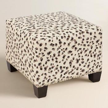 Neutral Snow Leopard Linen Ottoman