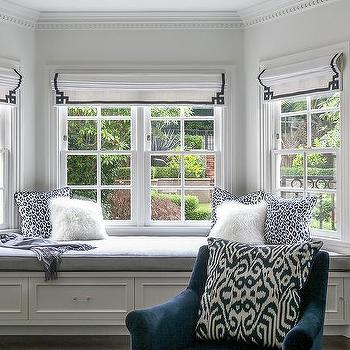 Master Bedroom Bay Window Bench with Navy Greek Key Roman Shades. Bedroom Bay Window Design Ideas