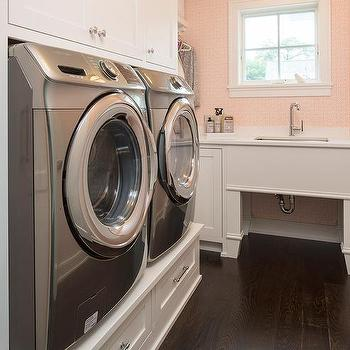 built in washer and dryer riser with drawers. Black Bedroom Furniture Sets. Home Design Ideas
