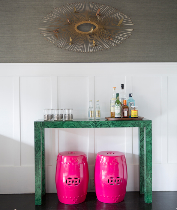 Pleasing Malachite Console Table Bar With Hot Pink Stools Gmtry Best Dining Table And Chair Ideas Images Gmtryco