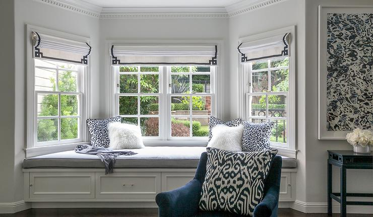 Master Bedroom Bay Window Bench with Navy Greek Key Roman Shades ...