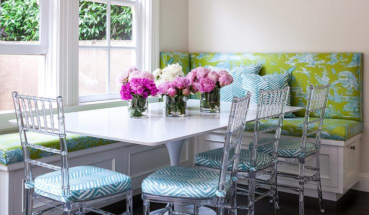 Decorating Bedrooms With Green Toile: Green And Blue Toile Dining Banquette With Chiavari Chairs