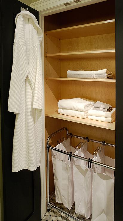 Small Bathroom Closet With Laundry Sorters