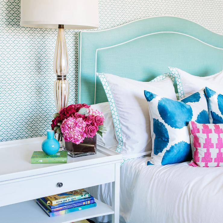Tiffany Blue Bedroom Boasts A Wall Clad In Turquoise Metallic Geometric Wallpaper Lined With Curved Headboard Accented White Piping