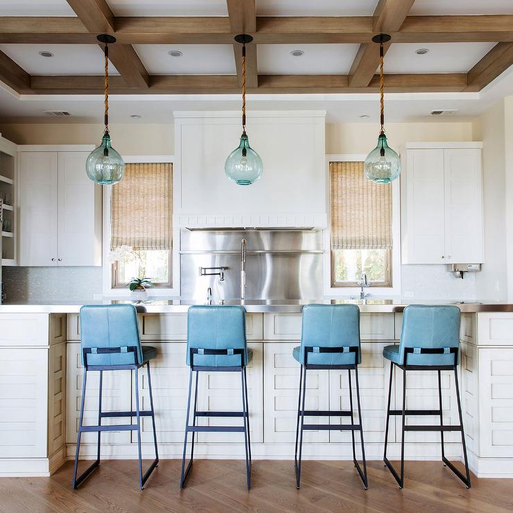Turquoise Blue Leather Kitchen Island Stools With Blue Glass - Kitchen island glass pendants