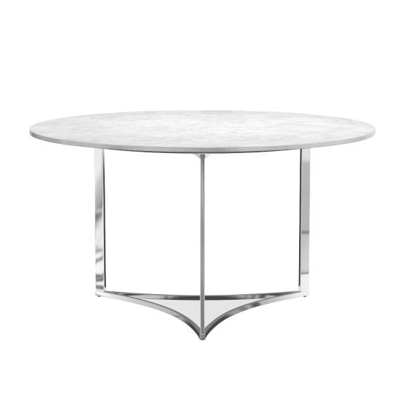 Trefoil White Round Marble Top Dining Table