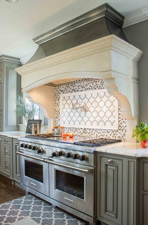 Gray French Kitchen With Gray Herringbone Cooktop