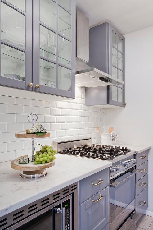 Gray Ikea Kitchen Cabinets with White Beveled Subway Tile