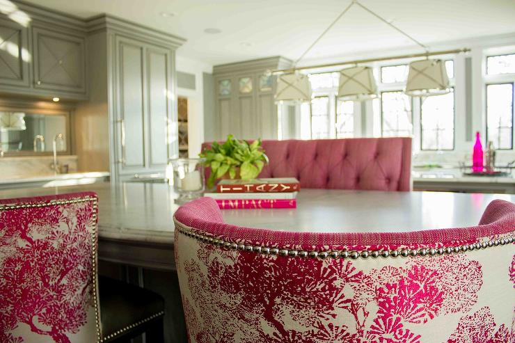 Gray KItchen Island with Pink Tufted Bench and PinkBbarrel Back ...