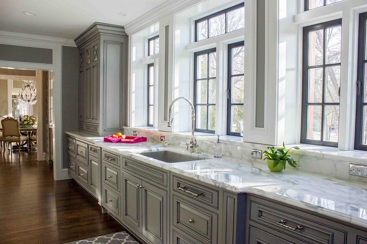 Gray KItchen Cabinets With Marble Window Sills Contemporary Kitchen - Gray kitchen cabinets with marble countertops
