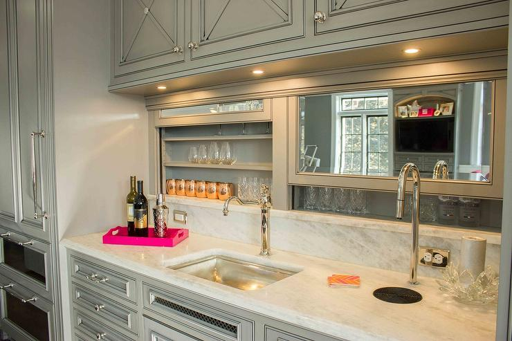 Gray Wet Bar With Built In Beer Tap And Sliding Backsplash