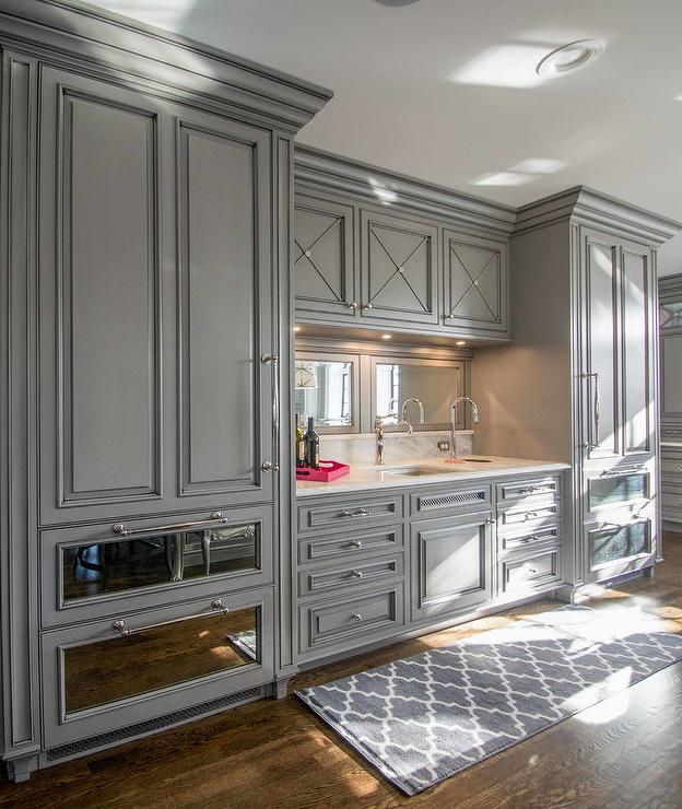 Gray Paneled Refrigerator With Mirrored Freezer Drawers