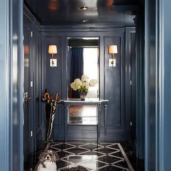 Foyer With Black Ceiling And Gold Pendant Contemporary