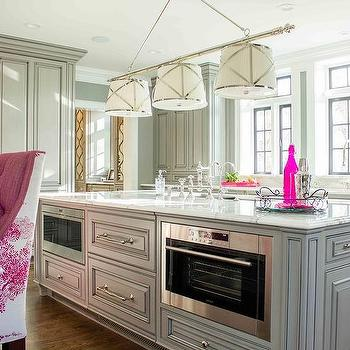Gray And Pink Kitchen With Two Islands Lit By Grosvenor