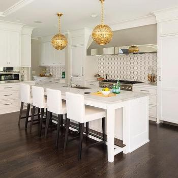 Perfect White Kitchen Island With Gold Globe Pendants